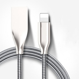 wholesale stainless steel spring lightning usb cable with super fast charging
